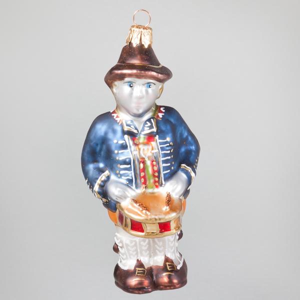 "Christbaumkugel, Bayrischer Trommler ""Schorsch"", 5,5 x 11,5 cm"