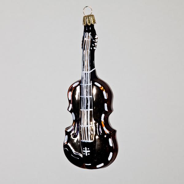 Christbaumkugel, Geige, goldfarben/braun, 4,5 x 12 cm