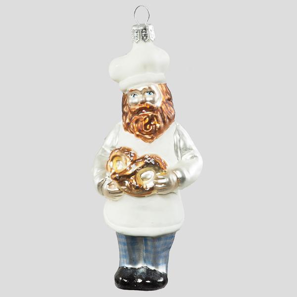 Christbaumkugel, Bäcker mit Brezel, 6 x 12 cm