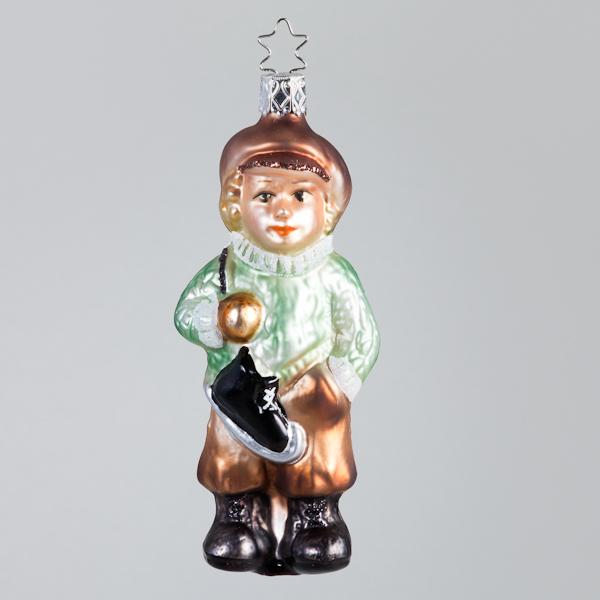 Christbaumkugel, Junge mit Schlittschuhen, 5 x 12 cm