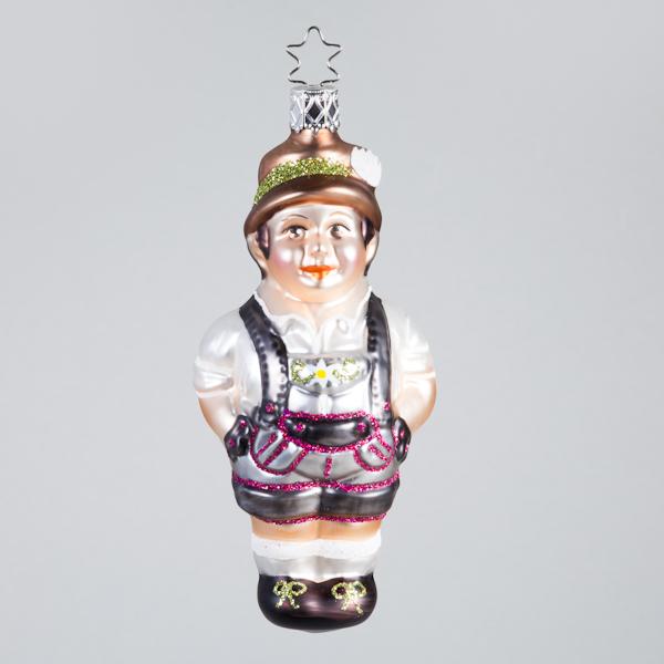Christbaumkugel, Bayer Sepp mit Lederhose, rot/braun, 5,5 x 12 cm