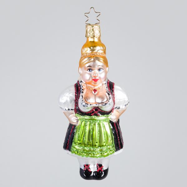 """Christbaumkugel, """"Resi"""" im Dirndl mit grüner Schürze, 6 x 12 cm"""