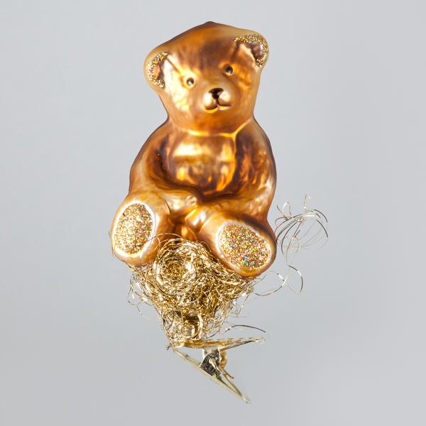 Christbaumkugel, Kleiner Bär auf Goldnest, 5 x 9 cm