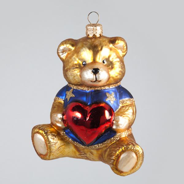 Christbaumkugel, Teddy mit Herz, Blau, 9 x 11 cm