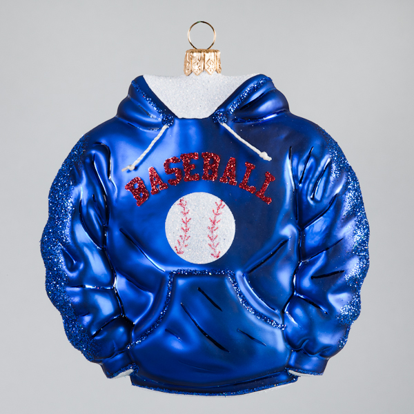 Christbaumkugel, Baseball-Hoodie, Blau, 10 x 10 cm