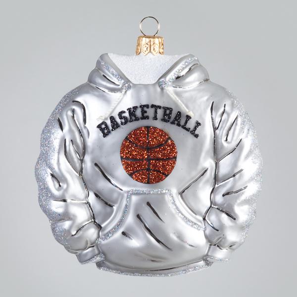 Christbaumkugel, Basketball-Hoodie, Grau, 10 x 10 cm