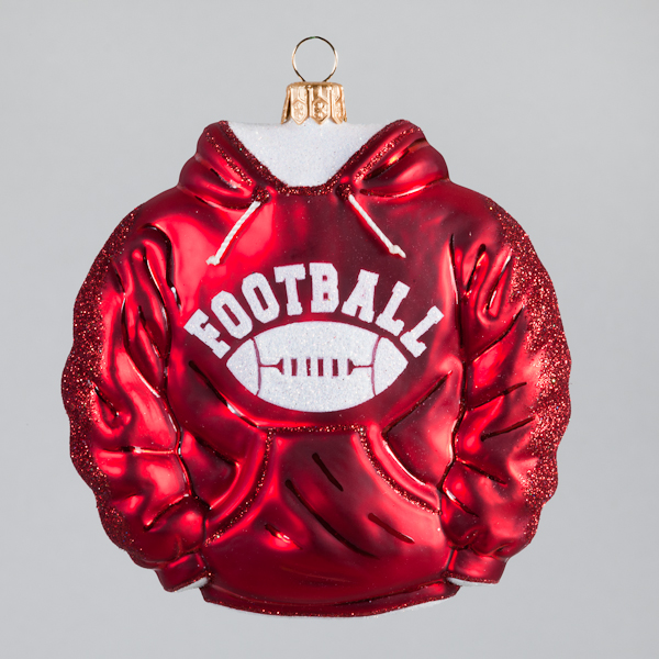 Christbaumkugel, Football-Hoodie, Rot, 10 x 10 cm