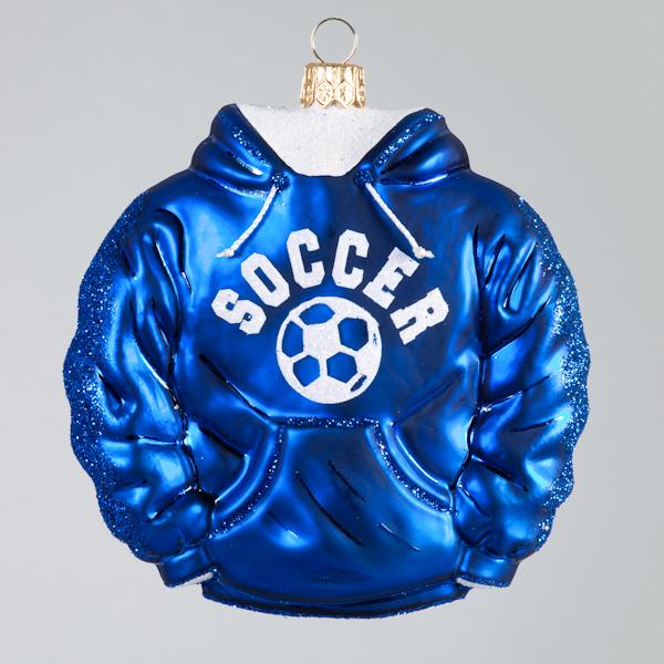 Christbaumkugel, Soccer-Hoodie, Blau, 10 x 10 cm
