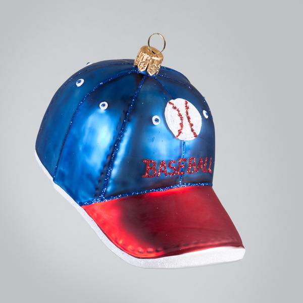 Christbaumkugel, Baseball-Cap, Blau-Rot, 5,5 x 11 cm
