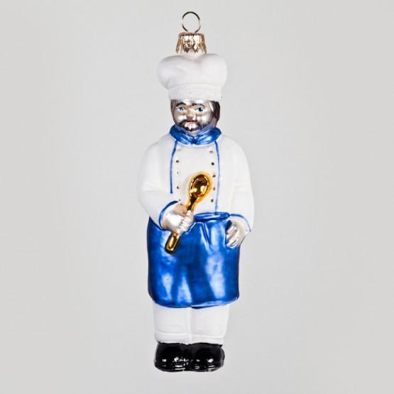 Christbaumkugel, Koch mit blauer Schürze, 6 x 15 cm