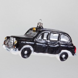 "Christbaumkugel, London Taxi ""Black Cap"", 12 x 5 cm"