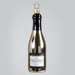 Christbaumkugel, Pino Grigio Weißwein-Flasche, 4 x 13 cm