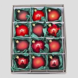 Christbaumkugeln, Kugelmischung, Rot-Mix, ø 8 cm