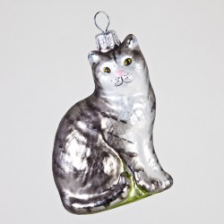 Christbaumkugel, Katze, Grau, 5 x 7 cm