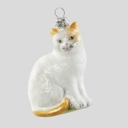 "Christbaumkugel, Katze ""Lili"", Weiß-Grau, 5 x 8 cm"