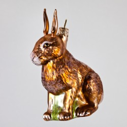 Christbaumkugel, Hase, Braun, 8 x 10 cm