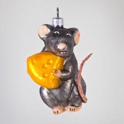 Christbaumkugel, Maus mit Käse, 5 x 8 cm