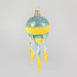 Christbaumkugel, Qualle, Gelb mit Glitzer, 14 x 6 cm