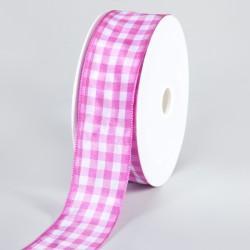 Geschenkband, Schleifenband, Karomuster, Pink/Weiß