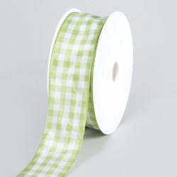 Geschenkband, Schleifenband, Karomuster, Hellgrün/Weiß