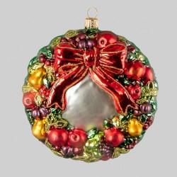 Christbaumfigur, Kranz mit Früchten und roter Schleife, ø 11 cm