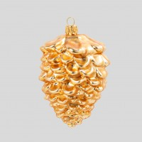 Christbaumkugel, Zapfen Topaz, goldfarben, matt, 7 x 7 cm