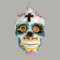 Christbaumkugeln, Totenkopf mit mexikanischen Ornamenten