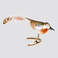 """Christbaumfigur, Vogel """"Arabella"""" mit Federn auf Clip, 3 x 6,5 cm"""