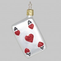 "Christbaumfigur, Spielkarte ""Ace of Hearts"", Rot, 7 cm"