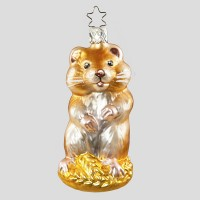 Christbaumkugel, Goldiger Hamster, 5 x 10 cm