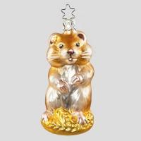 Christbaumkugel, Goldiger Hamster, 5 x 10 cm