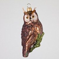 Christbaumfigur, Vogel, Eule, Braun mit Federn, 5 x 10 cm