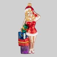 Christbaumfigur, Sexy Lady mit Geschenken, 7 x 14 cm