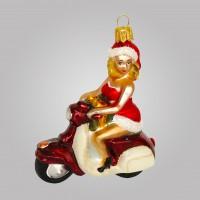 Christbaumfigur, Sexy Lady mit Motorroller