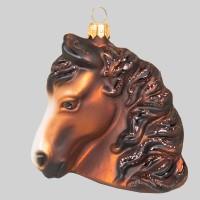 Christbaumkugel, Pferdekopf, braun, 9 x 9 cm