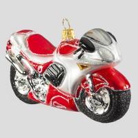 Christbaumkugel, Motorbike, Rot, 13 x 7 cm