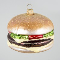 Christbaumkugel, Hamburger/Burger, 8 x 6 cm