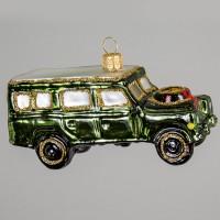 Christbaumkugel, Geländewagen mit Adventskranz, 10 x 5 cm