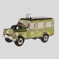 Christbaumfigur, Geländewagen mit Ersatzreifen, hellgrün, 10 x 5 cm
