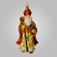 Christbaumfigur, Bischof Santa mit Stab, 9 x 17 cm