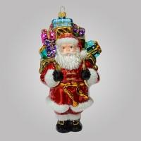 Christbaumfigur, Santa mit Rucksack und Geschenken,10 x 19 cm