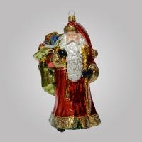 Christbaumfigur, Santa mit langem Mantel und Sack mit Geschenken, 10 x 17 cm