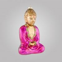 Christbaumfigur, Meditierender Buddha, pink, 10 x 16 cm